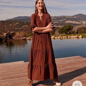Mango Ruffle Dress - Brown Size S (US 4)